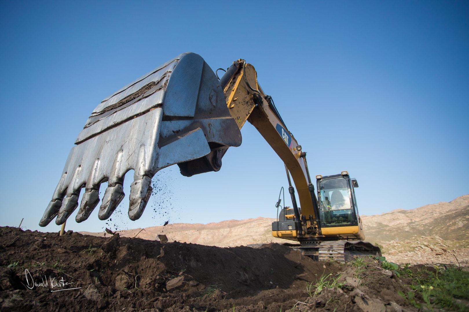 excavator, farming, agriculture, soil preparation